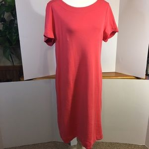 Talbots Coral pink dress with scalloped trim